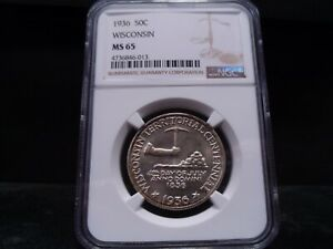 1936 MS65 WISCONSIN SILVER COMMEMORATIVE NGC CERTIFIED GEM
