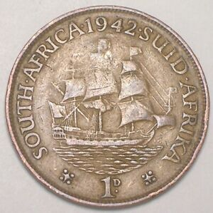 1942 SOUTH AFRICA AFRICAN ONE 1 PENNY SAILING SHIP COIN F