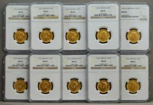 Click now to see the BUY IT NOW Price! GREAT BRITAIN TEN NGC MS65 1925 1 SOVEREIGN 10 PIECE SET 935858 5