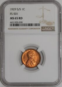 Click now to see the BUY IT NOW Price! 1929 S/S LINCOLN CENT 1C FS 501 MS65 RD NGC   941890 2