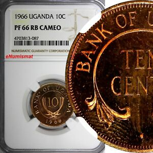 Click now to see the BUY IT NOW Price! UGANDA BRONZE PROOF 1966 10 CENTS NGC PF 66 RB CAMEO TOP GRADED BY NGC KM 2