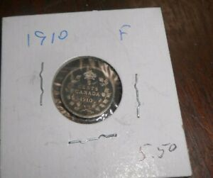 CANADA/CANADIAN 1910 SILVER 5 CENTS COIN