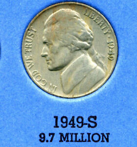 1949 S JEFFERSON NICKEL   US AMERICAN OLD NCIE 5 CENT COINFIVE A3550