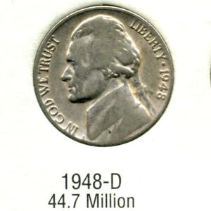 1948 D JEFFERSON NICKEL   US AMERICAN OLD NCIE 5 CENT COINFIVE A3508