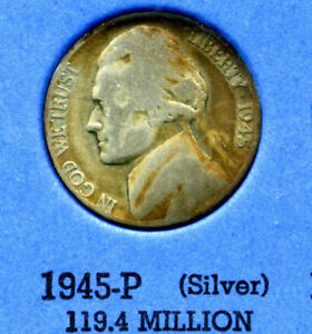 1945 P SILVER JEFFERSON NICKEL  US AMERICA OLD NCIE 5 CENT COINFIVE A3550