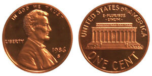 1986 S GEM BU PROOF LINCOLN MEMORIAL BRILLIANT UNCIRCULATED PENNY US COIN PF