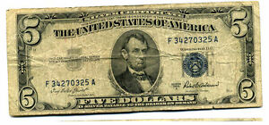 1953 A $5 SILVER CERTIFICATE US PAPER MONEY FIVE DOLLAR BILL F34270325A US4055
