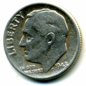 1948 P ROOSEVELT DIME SILVER 10CENT SHARP ABOVE AVERAGE DETAIL NICE US COIN3737