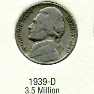 1939 D JEFFERSON NICKEL   US AMERICAN OLD NCIE 5 CENT COINFIVE A3508