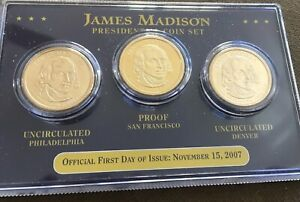 2007 P & D & S UNITED STATES JAMES MADISON PRESIDENTIAL 3 COIN SET EE775