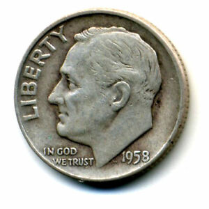 1958 D ROOSEVELT DIME SILVER 10 CENT SHARP ABOVE AVERAGE DETAIL NICE COIN158