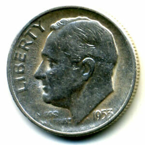 1953 S ROOSEVELT DIME SILVER 10 CENT SHARP ABOVE AVERAGE DETAIL NICE COIN1113