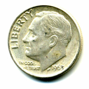 1963 P ROOSEVELT DIME SILVER 10 CENT SHARP ABOVE AVERAGE DETAIL NICE COIN397