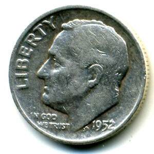 1952 D ROOSEVELT DIME SILVER 10 CENT SHARP ABOVE AVERAGE DETAIL NICE COIN1124