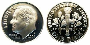 2001 S GEM BU PROOF ROOSEVELT DIME 10 CENT BRILLIANT UNCIRCULATED US COIN PF