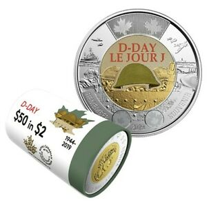 2019 CANADA BU 2 DOLLAR D DAY COLOURED TOONIE COIN FROM MINT ROLL UNC