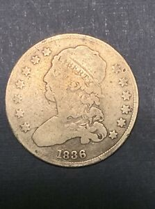 1836 CAPPED BUST QUARTER SILVER 25 CENTS
