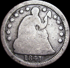 1841 O SEATED LIBERTY HALF DIME SILVER US TYPE COIN              W406