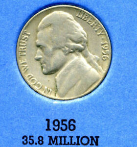 1956 P JEFFERSON NICKEL   US AMERICAN OLD NCIE 5 CENT COINFIVE A3550