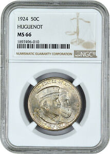 Click now to see the BUY IT NOW Price! 1924 NGC MS66 HUGUENOT SILVER COMMEMORATIVE HALF DOLLAR APPROPRIATE TONE