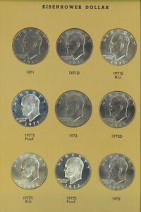 US EISENHOWER DOLLAR 1971 1978 COMPLETE 32 COINS SET PROOFS UNC SILVER DANSCO