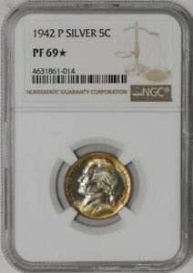 Click now to see the BUY IT NOW Price! 1942 P JEFFERSON NICKEL 5C PF69  NGC COLOR  941541 3