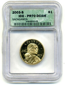 ICG PR70DCAM 2003 S SACAGAWEA GOLDEN DOLLAR GEM UNCIRCULATED MINT STATE PF COIN
