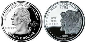 2000S GEM BU PROOF NEW HAMPSHIRE STATE 25 CENT PR QUARTER UNCIRCULATED COIN PF