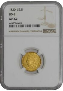 Click now to see the BUY IT NOW Price! 1830 $2 1/2 GOLD CLASSIC HEAD BD 1 $2.5 MS62 NGC  942107 4