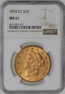 Click now to see the BUY IT NOW Price! 1874 CC $20 GOLD LIBERTY MS61 NGC  941488 1