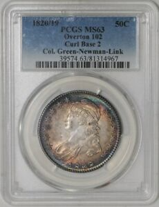 Click now to see the BUY IT NOW Price! 1820/19 CAPPED BUST HALF 50C GREEN NEWMAN LINK O 102 MS63 PCGS   942006 7