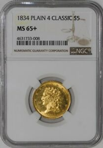 Click now to see the BUY IT NOW Price! 1834 $5 GOLD CLASSIC HEAD PLAIN 4 MS65  NGC   938899 4