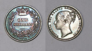 1873 GB VICTORIA STERLING SILVER SHILLING XF GORGEOUS BLUE TONE DIE 21 INV377 19