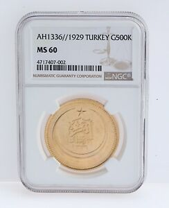 Click now to see the BUY IT NOW Price! AH1336 / 1929 TURKEY OTTOMAN G500 KURUSH GOLD COIN MS 60 NGC