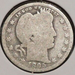 BARBER QUARTER   1895   HISTORIC SILVER    $1 UNLIMITED SHIPPING.