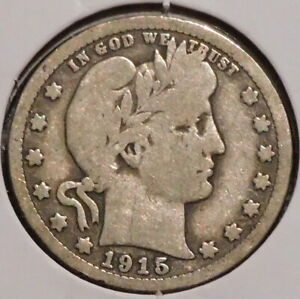 BARBER QUARTER   1915   HISTORIC SILVER    $1 UNLIMITED SHIPPING.