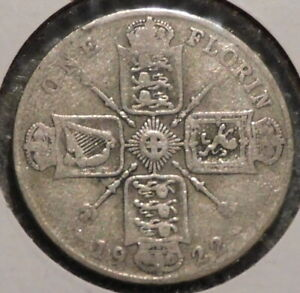 BRITISH FLORIN   1922   OVERSTOCK SALE    $1 UNLIMITED SHIPPING  28
