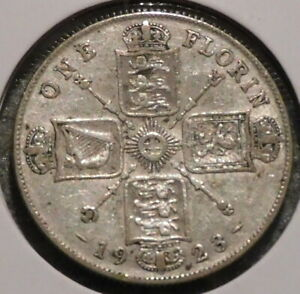 BRITISH FLORIN   1923   OVERSTOCK SALE    $1 UNLIMITED SHIPPING  34