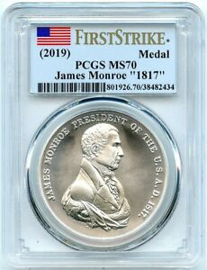 2019 MONROE 1817 SILVER MEDAL .999 SILVER PCGS MS 70 FIRST STRIKE POP   41