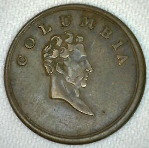 GREAT BRITAIN 1820 1830 COLUMBIA COPPER FARTHING TOKEN COIN M3