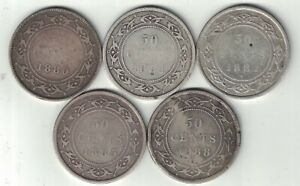 5 X NEWFOUNDLAND FIFTY CENT VICTORIA 925 SILVER COINS 1880 1881 1882H 1885 1888