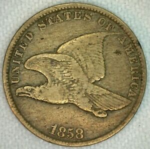 1858 FLYING EAGLE ONCE CENT PENNY US COIN COPPER NICKEL COIN SMALL LETTERS K33