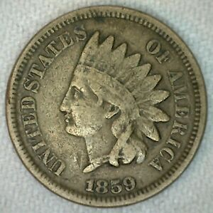 1859 US INDIAN HEAD ONE CENT PENNY COPPER NICKEL GOOD KJ16