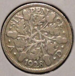 BRITISH SILVER SIXPENCE   1928   KING GEORGE V   $1 UNLIMITED SHIPPING
