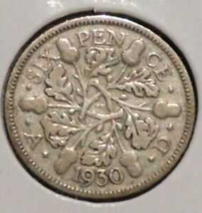 BRITISH SILVER SIXPENCE   1930   KING GEORGE V   $1 UNLIMITED SHIPPING