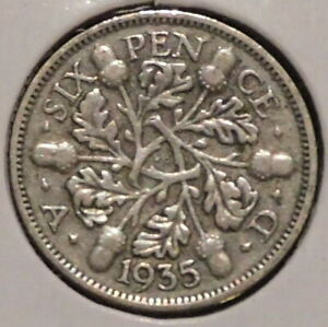 BRITISH SILVER SIXPENCE   1935   KING GEORGE V   $1 UNLIMITED SHIPPING