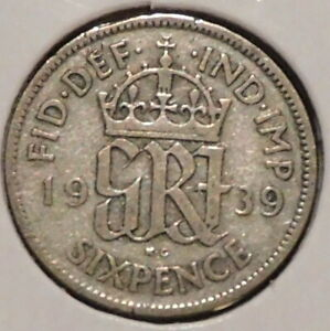 BRITISH SILVER SIXPENCE   1939   KING GEORGE VI   $1 UNLIMITED SHIPPING