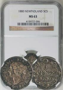 Click now to see the BUY IT NOW Price! CANADA NEWFOUNDLAND. VICTORIA 1880 5 CENTS NGC MS 63   NGC HIGHEST GRADED