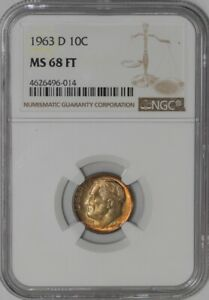 Click now to see the BUY IT NOW Price! 1963 D ROOSEVELT DIME 10C MS68 COLOR FT NGC 938908 22