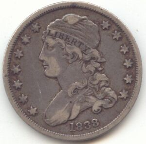 1838 CAPPED BUST QUARTER LAST YEAR OF ISSUE XF